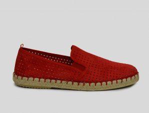 Ανδρικό Κόκκινο Red Suede Perforated Espadrilles PHILIPPE LANG