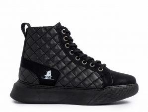 Ανδρικά μαύρα ψηλά sneakers με καπιτονέ