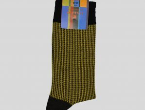 Ανδρικό Κίτρινο Houndstooth Yellow/Black Socks GALLO