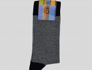 Ανδρικό Μαύρο Houndstooth White/Black Socks GALLO