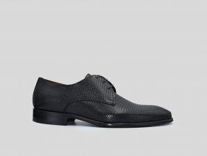 Ανδρικό Μαύρο Black Textured Oxford Shoes PHILIPPE LANG